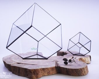 Geometric Terrarium / Big Cube / Stained Glass Terrarium / Handmade Glass Planter / Stained glass vase
