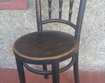 Jacob & Josef Kohn, Bentwood parlor ice cream chair original finish made in Czechoslovakia