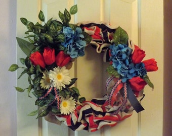 Red White and Blue Patriotic Burlap Wreath