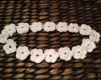 Crochet white flower headband