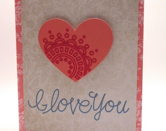 I love you blank greeting card, Hearts, Love, Anniversary, Embossing, 3D