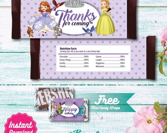 Sofia the First Printable Candy Bar Wrapper, Sofia the First Labels, Sofia the First Birthday decoration, instant download, DIY