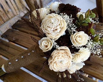 Wedding Bouquet, Sola wood bouquet, Succulent, Dried flower bouquet, Bridal bouquet, Keepsake bouquet, Rustic bouquet