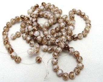 1 Strand 8mm Mottled Glass Round Beads Brown (B62b)
