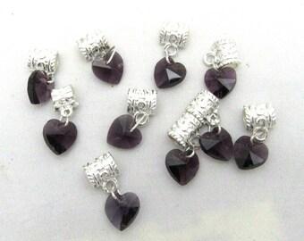 10 Euro Style Purple Crystal Heart Dangle Charms (B111e3)