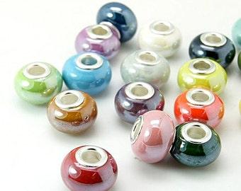 10 Handmade Porcelain Euro Beads Assorted (BR1v)