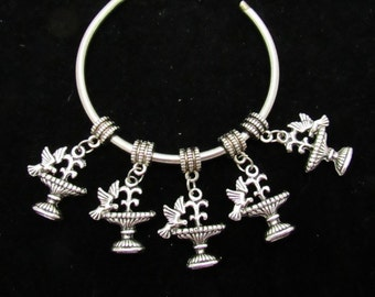10 Antique Silver Bird Fountain Euro Style Charm Dangle Beads (B28h)