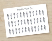 Syringe reminder stickers, needle, planner stickers, doctor appointment, diabetes, injection stickers, 36 stickers, PPC65