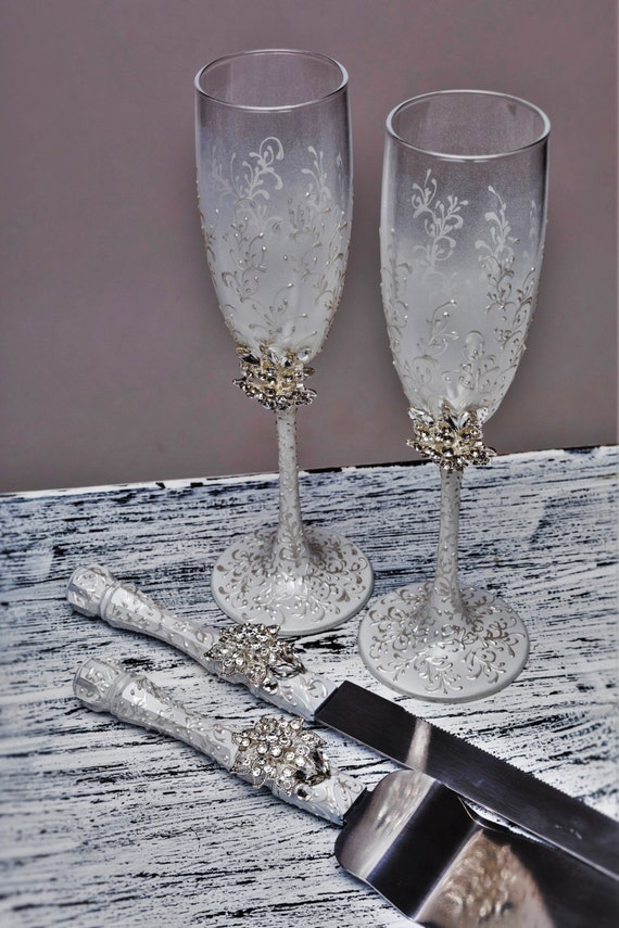 engraved wedding flutes and cake server sets wedding personalized flutes and cake server set white and 3924
