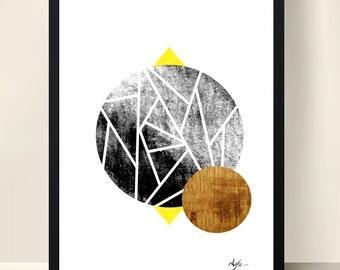 Geometric wood a4 poster