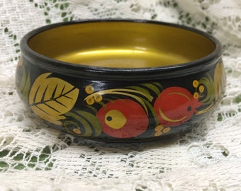 Vintage Small Russian USSR Tole Bowl Red Black Gold Green Bowl 4 1/4 inch
