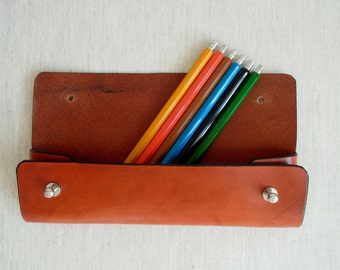 Leather case for pencils / / Handmade Leather Pen Case
