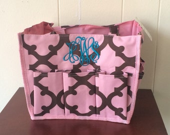 monogrammed tote bag, monogrammed makeup bag, Multi-pocket Tote