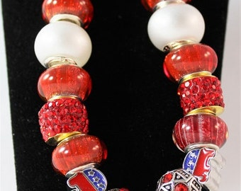 Handmade Beaded Bracelet, Republican Election, Red White Blue, Silver Plated, Patriotic, 313235