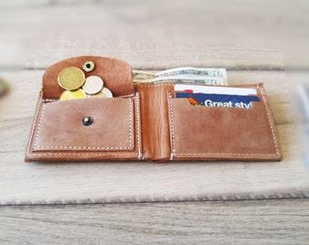 Billfold Short Wallet, Card and Coins Wallet, Credit Card Slots Cash Purse Men/Women Gift, Slim Wallet, Handmade Rustic Wallet