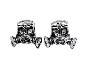 4 Silver Gas Mask European Bead Charms | Gas Mask Pendant, Breaking Bad Charms, Breaking Bad, Chemistry Charms