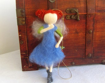 Fantasy art, Magic wool fairy, Little girl room, Needle felted fairy, handmade fairy, Waldorf fairy, Needle felted doll, nursery  decor
