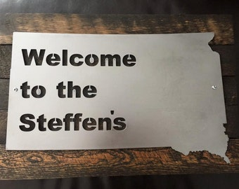 CUSTOM 16x20 Welcome (Last Name) State Sign with Black Hills Wood Metal Home Decor Sign