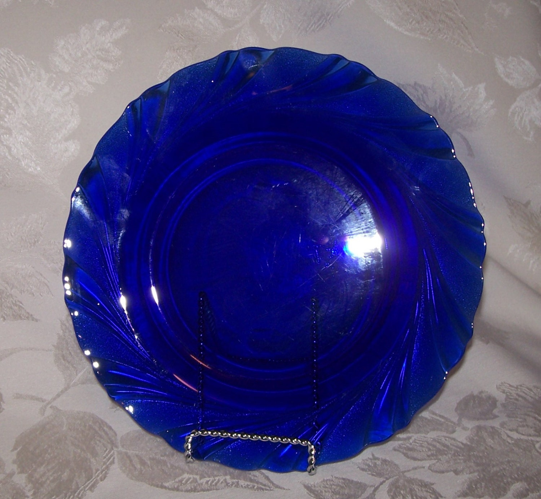 vintage cobalt blue swirl fance duralex bormioli rocco salad. Black Bedroom Furniture Sets. Home Design Ideas