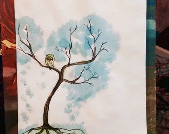 Owl Tree, Original painting