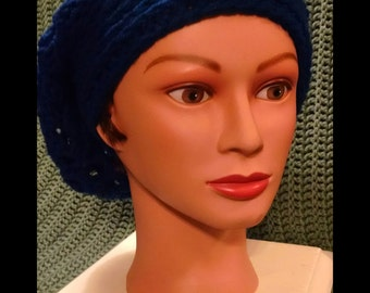 Royal blue, womens crocheted slouchy hat.