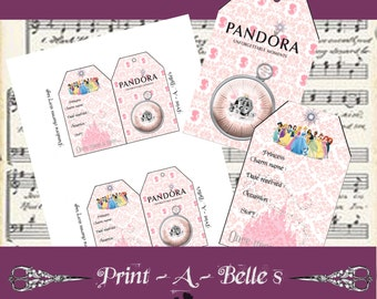Pandora Charm bracelet Story telling tags in Once Upon A Time theme