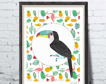 Poster Toucan with tropical decoration, cactus, monstera, pineapple, pink Flamingo, wall art, picture