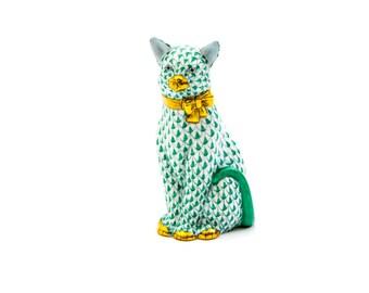 Herend Hungary, Cat Figurine, Signed Herend Figurine, Green, White Cat