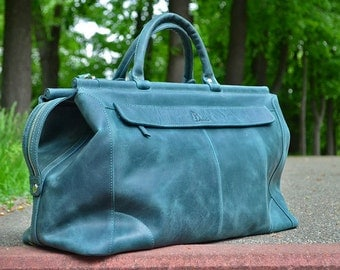Leather Travel Bag, Duffel Bag, Handmade Weekend bag, Green Leather Valise, Carry-on luggage, Cabin Luggage, Carry on Baggage