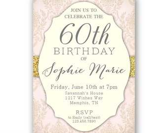 Elegant 60th Birthday Invitations / Women's 60th invitation / Birthday Dinner / Birthday Brunch or Lunch / Surprise Party / Printable