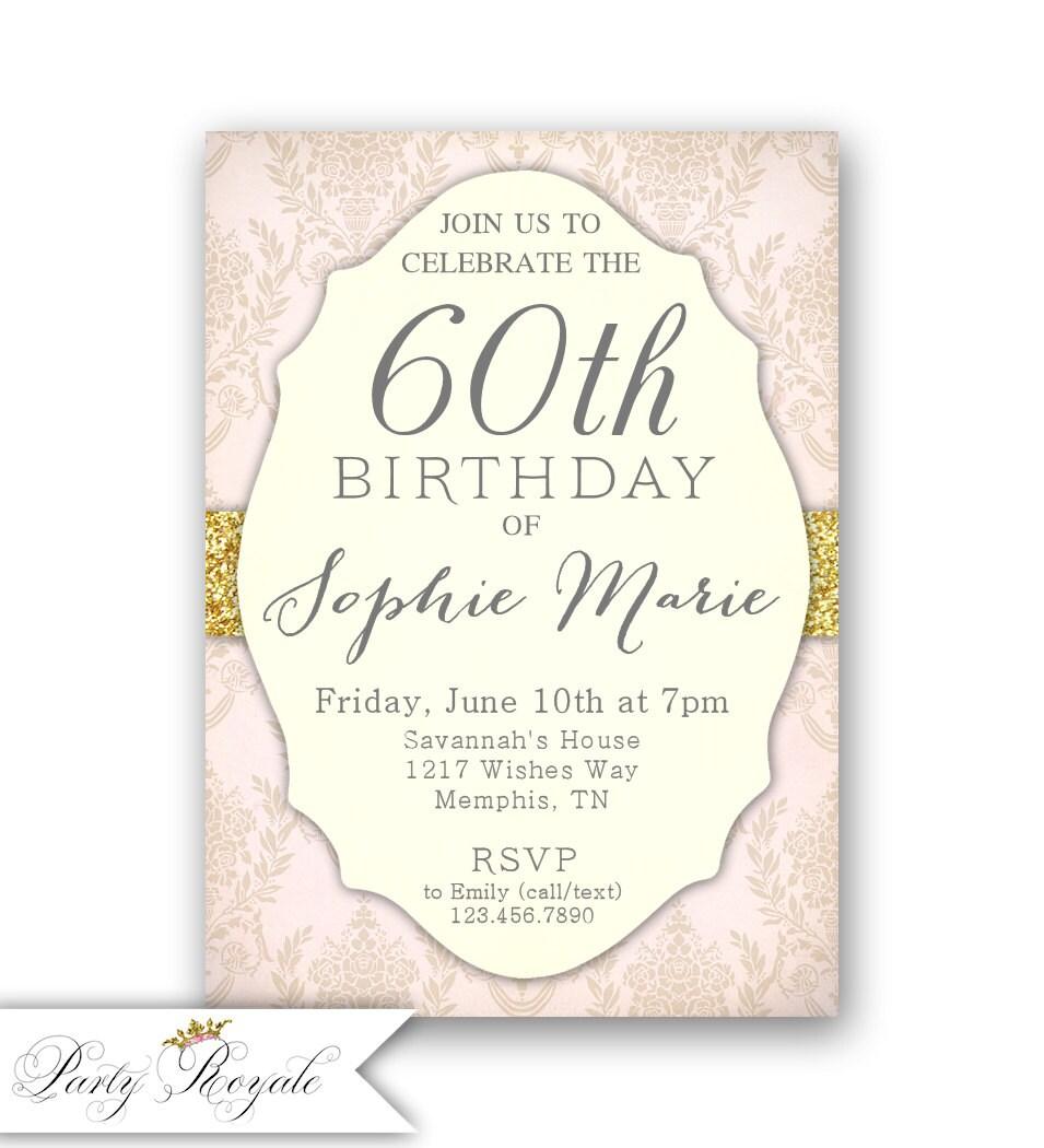 elegante 60. geburtstageinladungen / frauen-60. einladung /, Einladungen