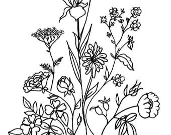 Flower arrangement - Adult Coloring Book hand drawn