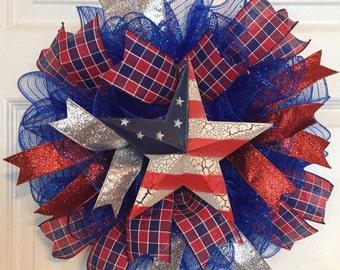 Patriotic 4th of July Deco Mesh Wreath (Blue)