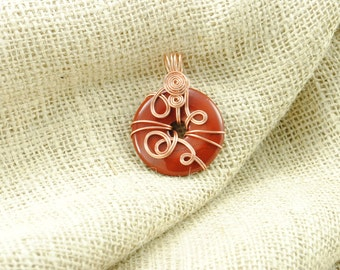 Tarnish-Resistant Copper Wire-Wrapped Red Jasper Donut Pendant - 40mm