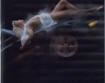 Beauty Rising 23x35 80's Pin Up Girl Poster 1985 Porsche 930 Turbo Carrera