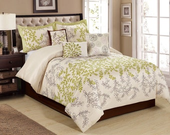7 Piece Leaves Tree Branches Ivory Green Comforter Sets Queen Saratoga Pattern