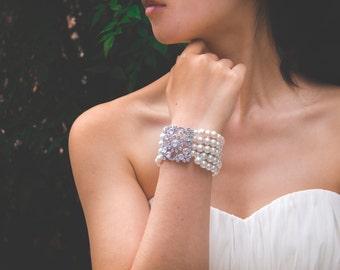 Ivory Pearl Bridal Bracelet, Vintage Ivory Pearl Bracelet, Swarovski Pearl Zirconia, Bridesmaid Bracelet, Bridal Jewelry, Wedding Accessory
