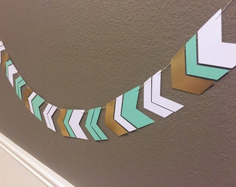 "Chevron garland 3"" tall - seafoam, gold and white checrom - arrow garland"