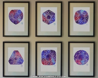 """5""""x7"""" Set of 6 art prints: Diamonds on pink, blue and violet watercolour with white sparkling stars 