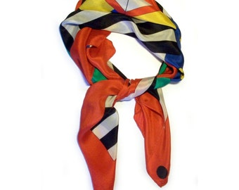 Vintage 1960s Scarf 100% Silk Pop Modern Art Geometric Abstract Red Yellow Black White Blue Green