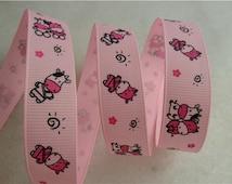 Pink Grosgrain, Pink Ribbon, Cow Grosgrain, Cow Ribbon, Pink Animal Ribbon, Pink Grosgrain, Cow Decoration, Calf Ribbon, Farm Ribbon, 16mm