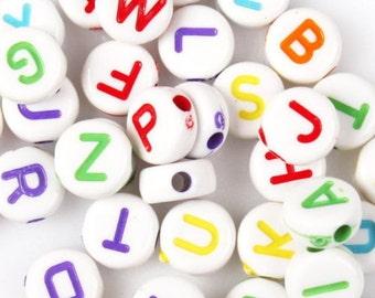 Letter Beads, Alphabet Beads, Letter 7mm Beads, Childrens Beads, Acrylic Beads, Plastic Beads, Plastic Letters, Acrylic Letters, Beads,