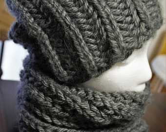 Grey hat and infinity scarf