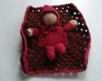 Crocheted Faceless Doll Puppet in Blanket
