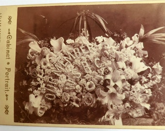 Funeral Flowers Cabinet Card Photo Milwaukee Death Mourning