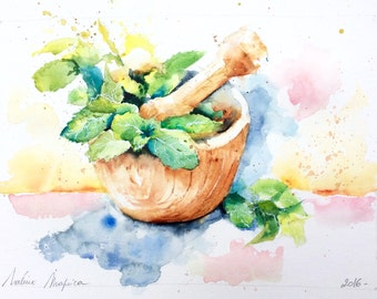 "Original Watercolour - Free shipping ""Mint leaves"" (bouquet fresh nature color kitchen pesto recipe)"