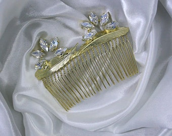 Navette 7x15 mm Feather Hair Comb