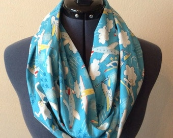 Aviation Infinity Scarf / Airplane / Helicopter / Air Show / Aviation / Infinity Scarf / Sky Blue / Clouds / Scarf / Planes / Sky High