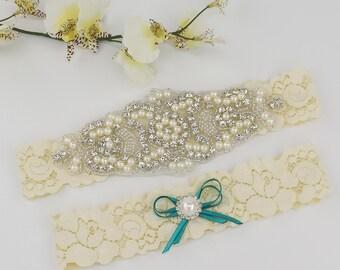 Ivory Lace Garter Set Crystal Rhinestone Bridal Garter Set Wedding Garter Rhinestone Crystal Bridal Garter Rhinestone Garters