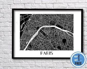 Paris map print, Paris color art map. Blue map of Paris